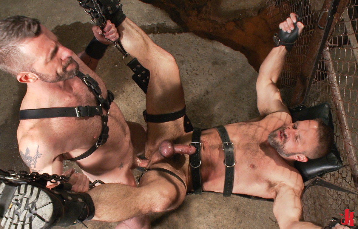 Gay leather bondage sex
